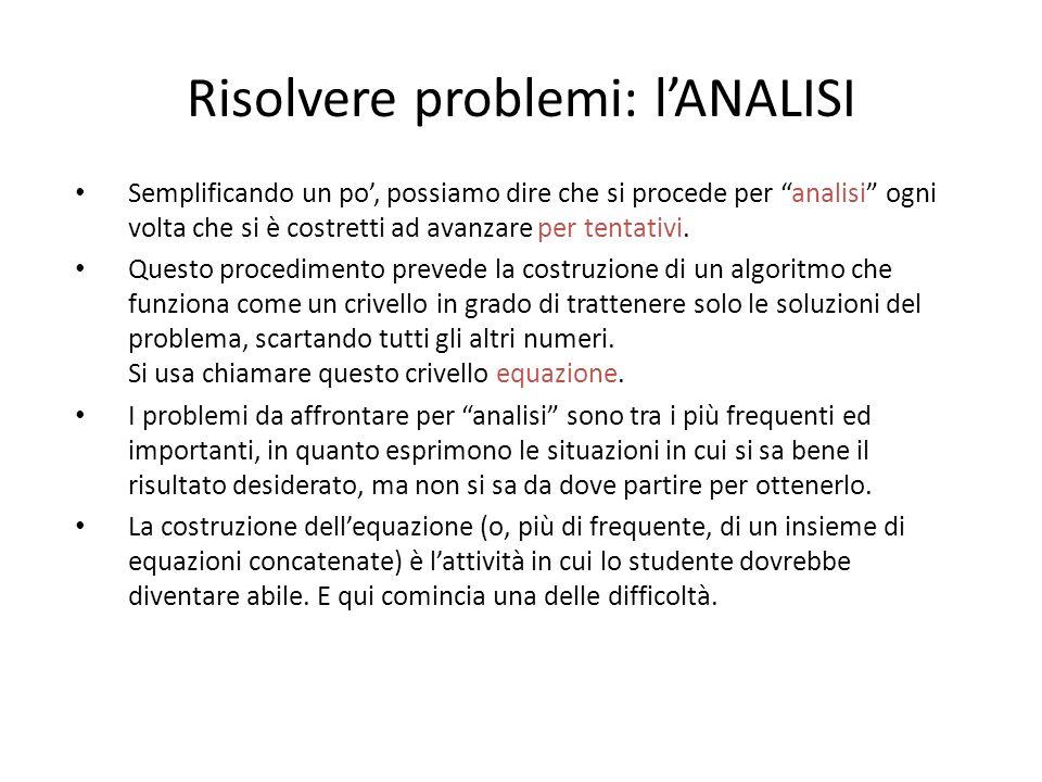 Risolvere problemi: l'ANALISI