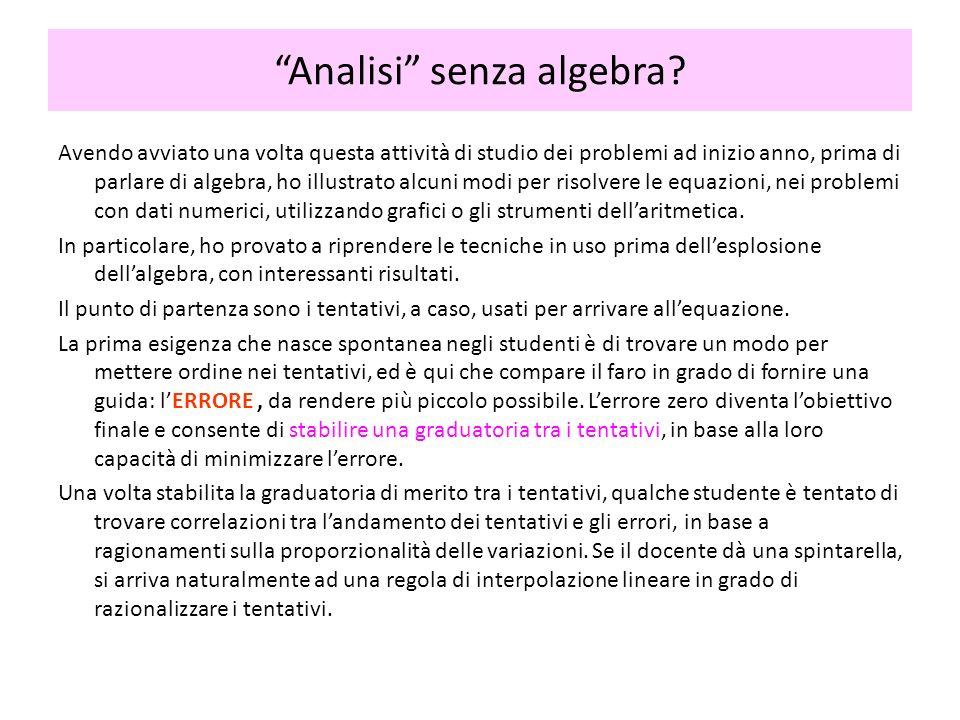 Analisi senza algebra