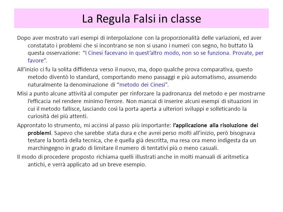 La Regula Falsi in classe