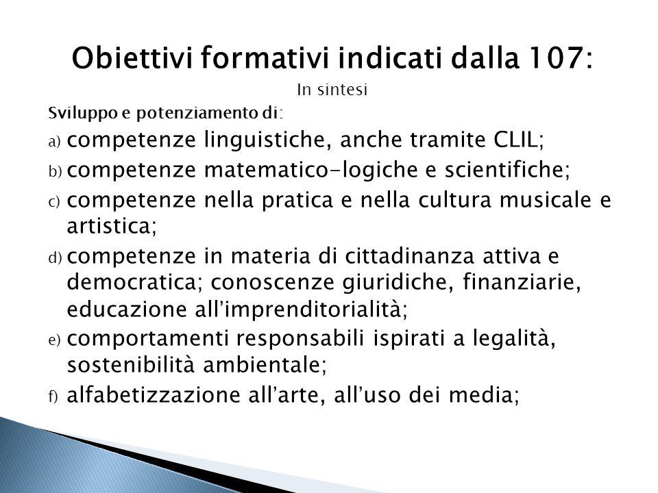 Obiettivi formativi indicati dalla 107: