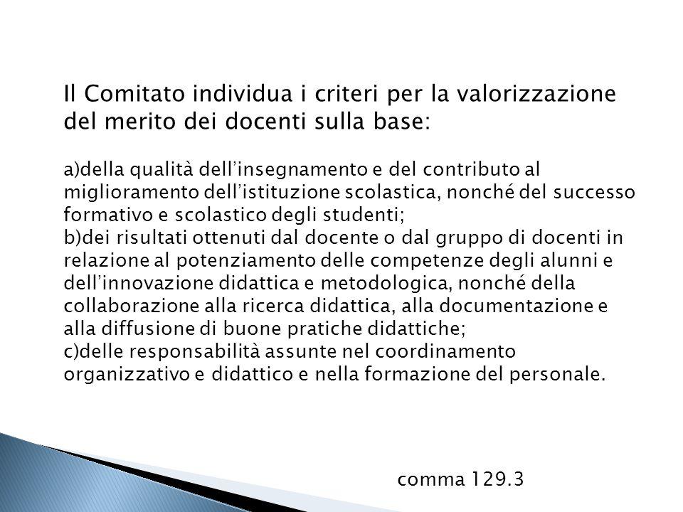 Il Comitato individua i criteri per la valorizzazione del merito dei docenti sulla base: