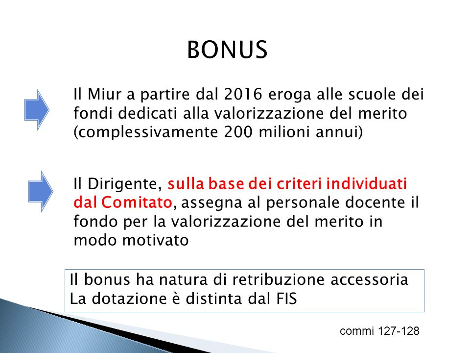 BONUS Il Miur a partire dal 2016 eroga alle scuole dei fondi dedicati alla valorizzazione del merito (complessivamente 200 milioni annui)