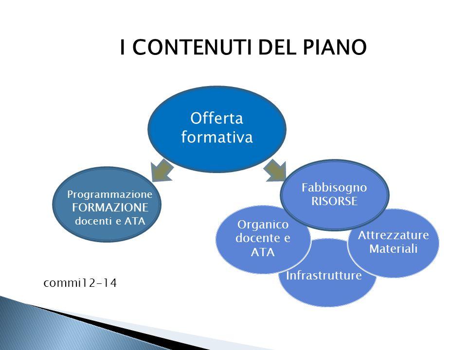 I CONTENUTI DEL PIANO Offerta formativa Fabbisogno RISORSE