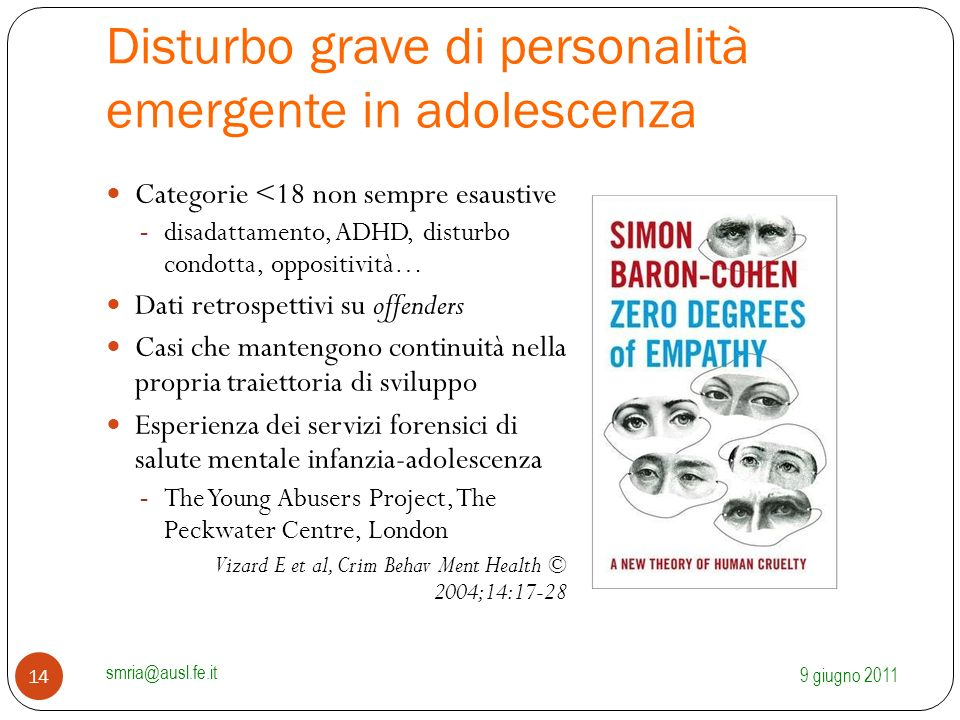 Disturbo grave di personalità emergente in adolescenza