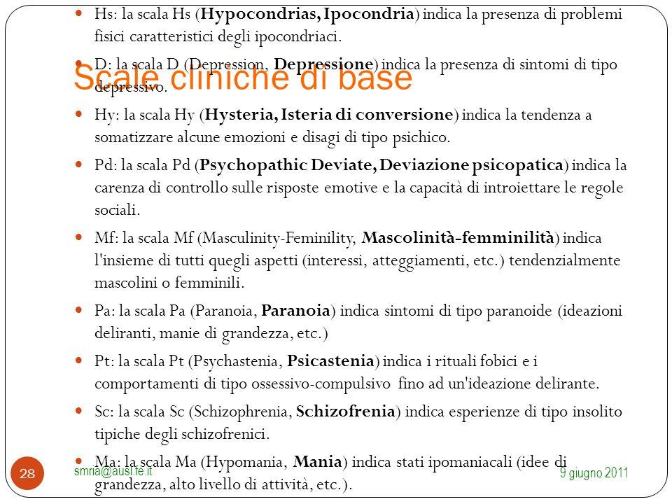 Scale cliniche di base Hs: la scala Hs (Hypocondrias, Ipocondria) indica la presenza di problemi fisici caratteristici degli ipocondriaci.