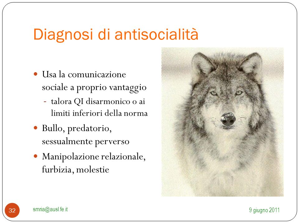 Diagnosi di antisocialità