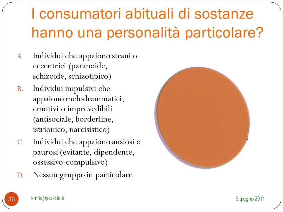 I consumatori abituali di sostanze hanno una personalità particolare