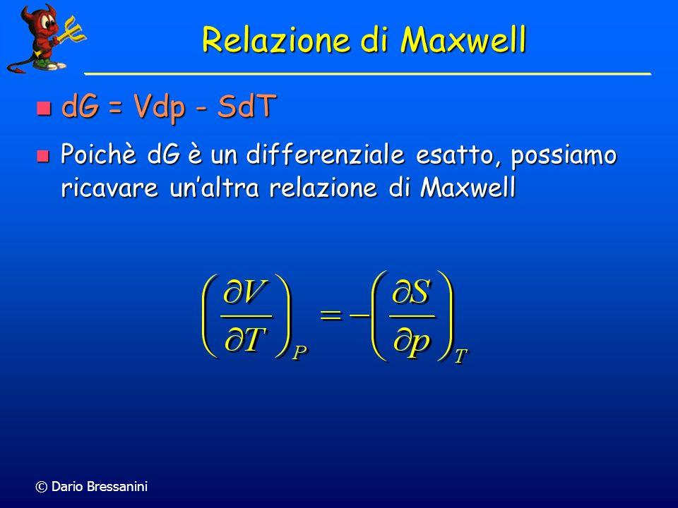 Relazione di Maxwell dG = Vdp - SdT