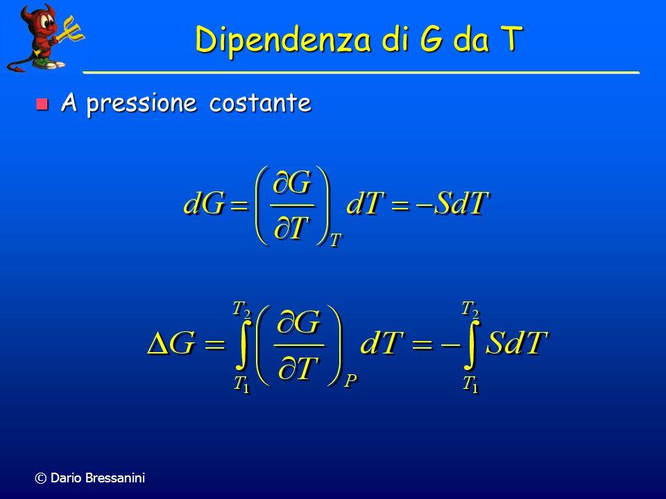 Dipendenza di G da T A pressione costante © Dario Bressanini