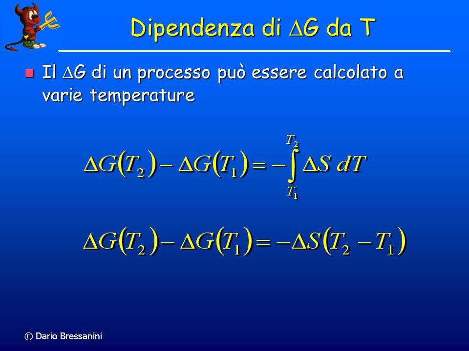 Dipendenza di DG da T Il DG di un processo può essere calcolato a varie temperature.