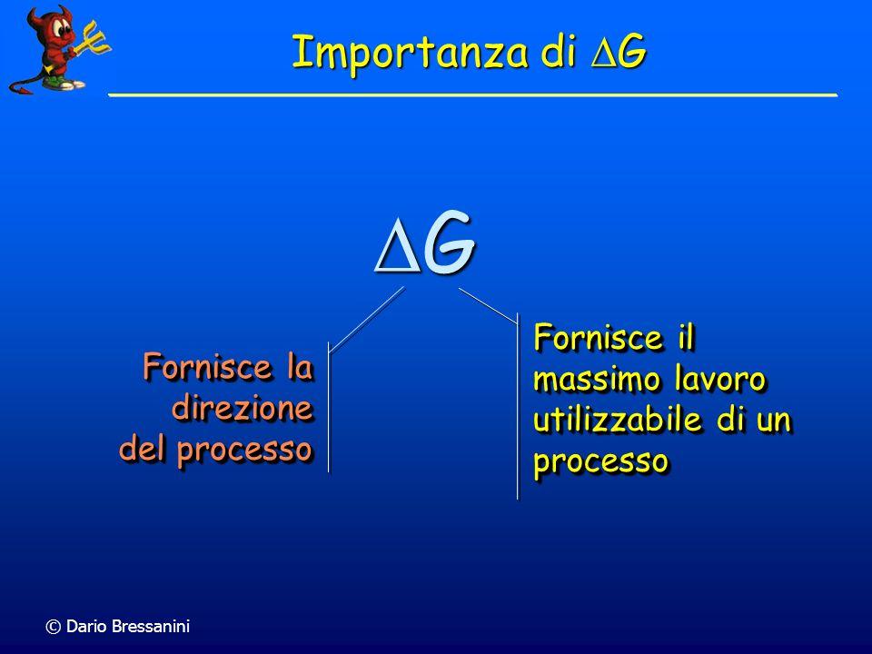 Importanza di DG DG. Fornisce il massimo lavoro utilizzabile di un processo. Fornisce la direzione del processo.