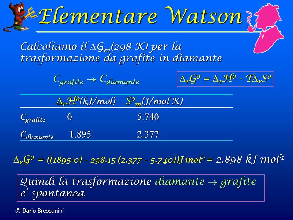 Elementare Watson Calcoliamo il Gm(298 K) per la trasformazione da grafite in diamante. Cgrafite  Cdiamante.