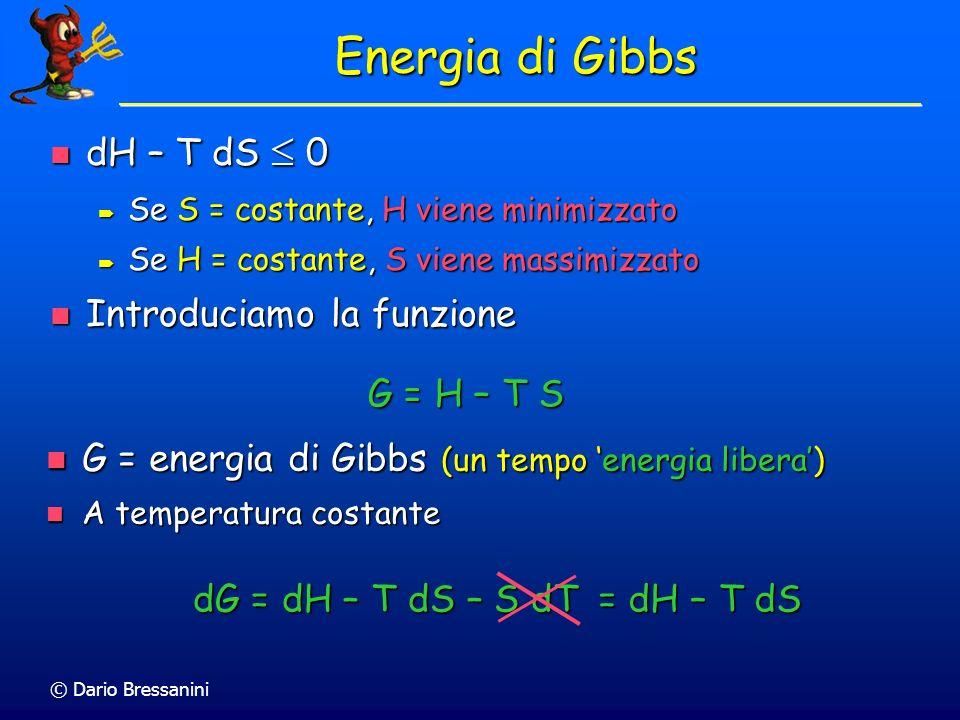 Energia di Gibbs dH – T dS  0 Introduciamo la funzione G = H – T S