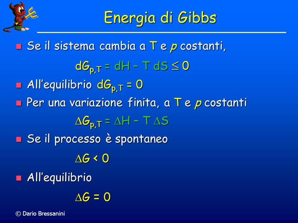 Energia di Gibbs Se il sistema cambia a T e p costanti,