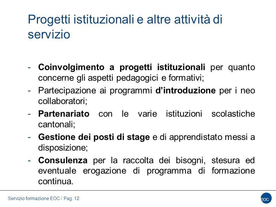 Progetti istituzionali e altre attività di servizio