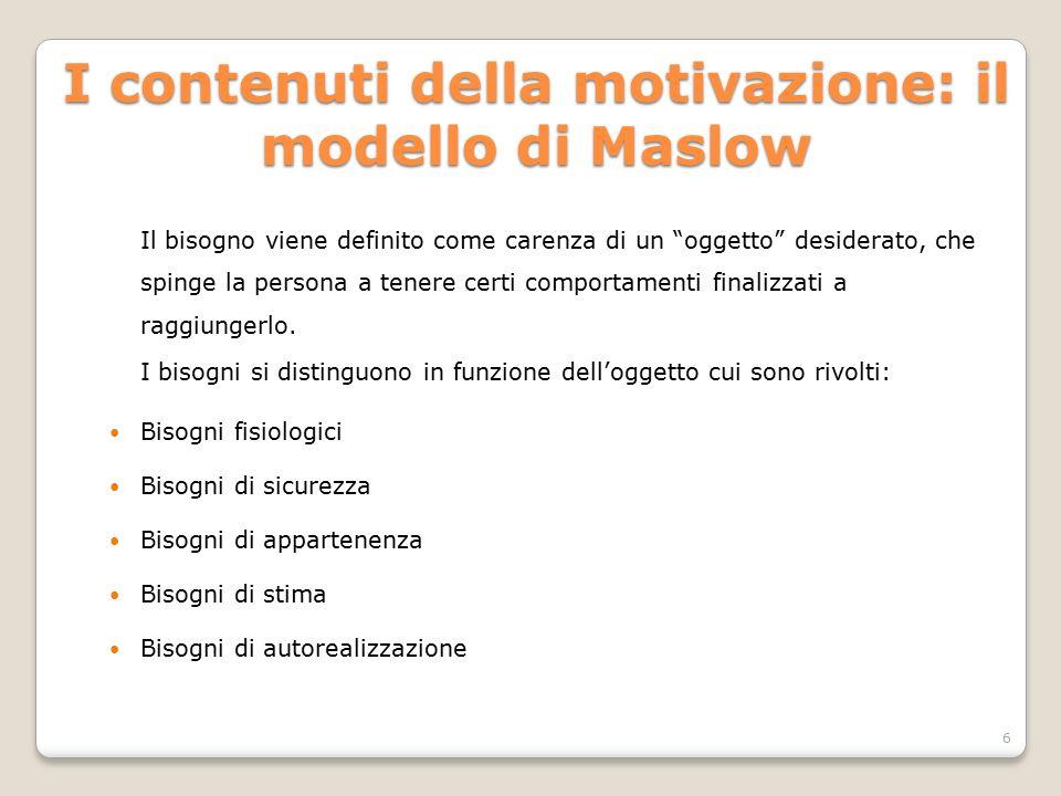 I contenuti della motivazione: il modello di Maslow