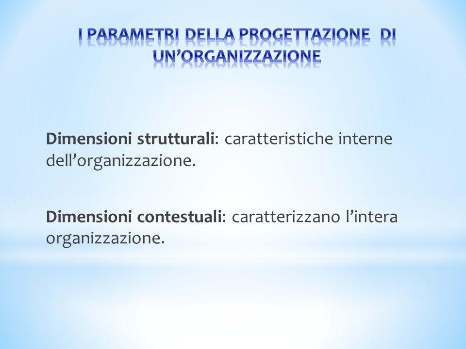 I PARAMETRI DELLA PROGETTAZIONE DI UN'ORGANIZZAZIONE