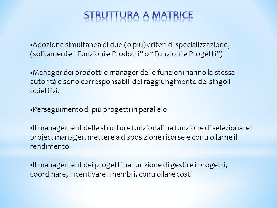 STRUTTURA A MATRICE Adozione simultanea di due (o più) criteri di specializzazione, (solitamente Funzioni e Prodotti o Funzioni e Progetti )