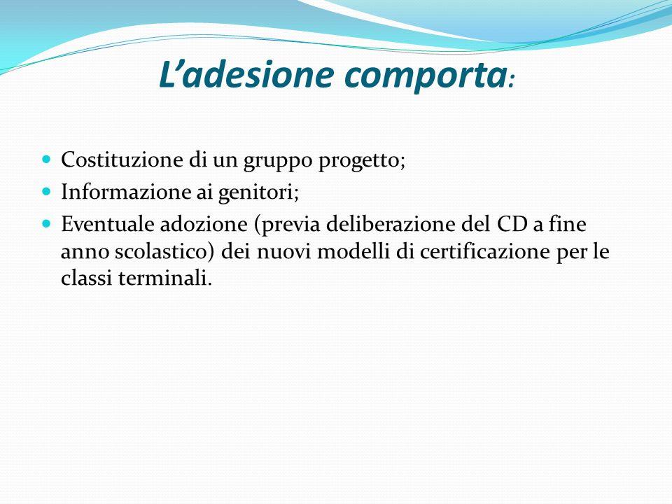 L'adesione comporta: Costituzione di un gruppo progetto;