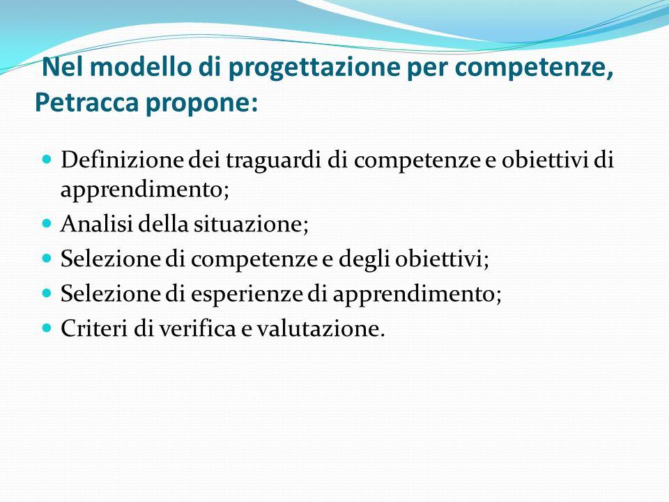 Nel modello di progettazione per competenze, Petracca propone: