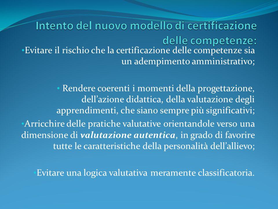 Intento del nuovo modello di certificazione delle competenze: