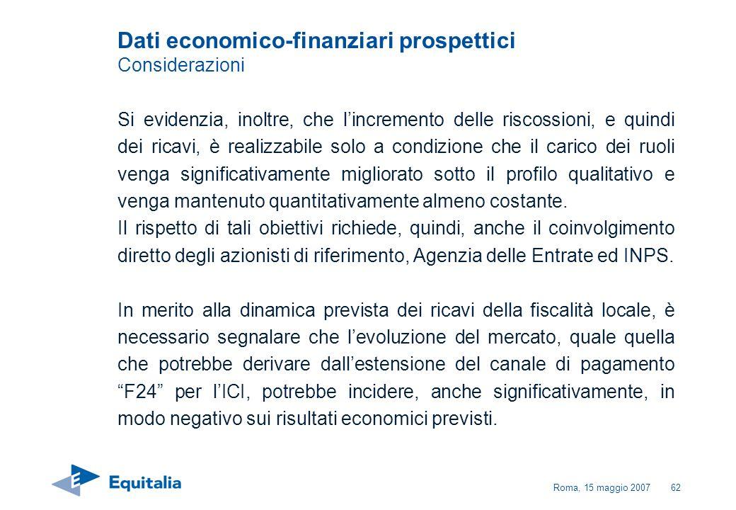 Dati economico-finanziari prospettici Considerazioni