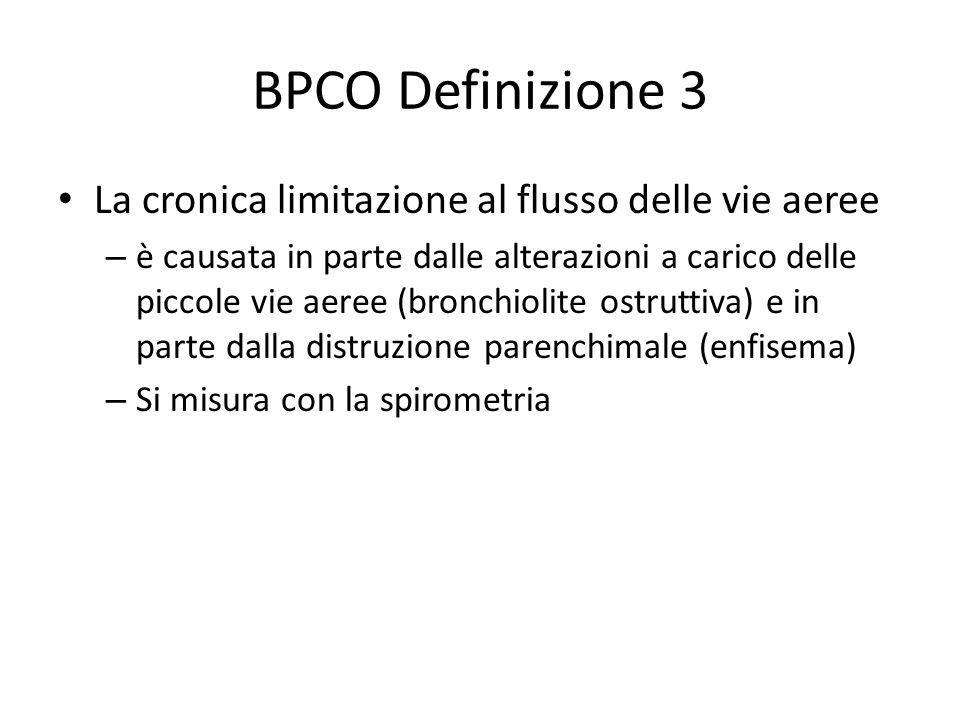 BPCO Definizione 3 La cronica limitazione al flusso delle vie aeree