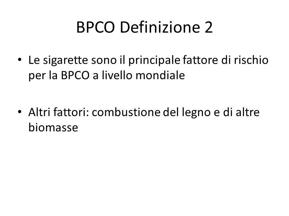 BPCO Definizione 2 Le sigarette sono il principale fattore di rischio per la BPCO a livello mondiale.