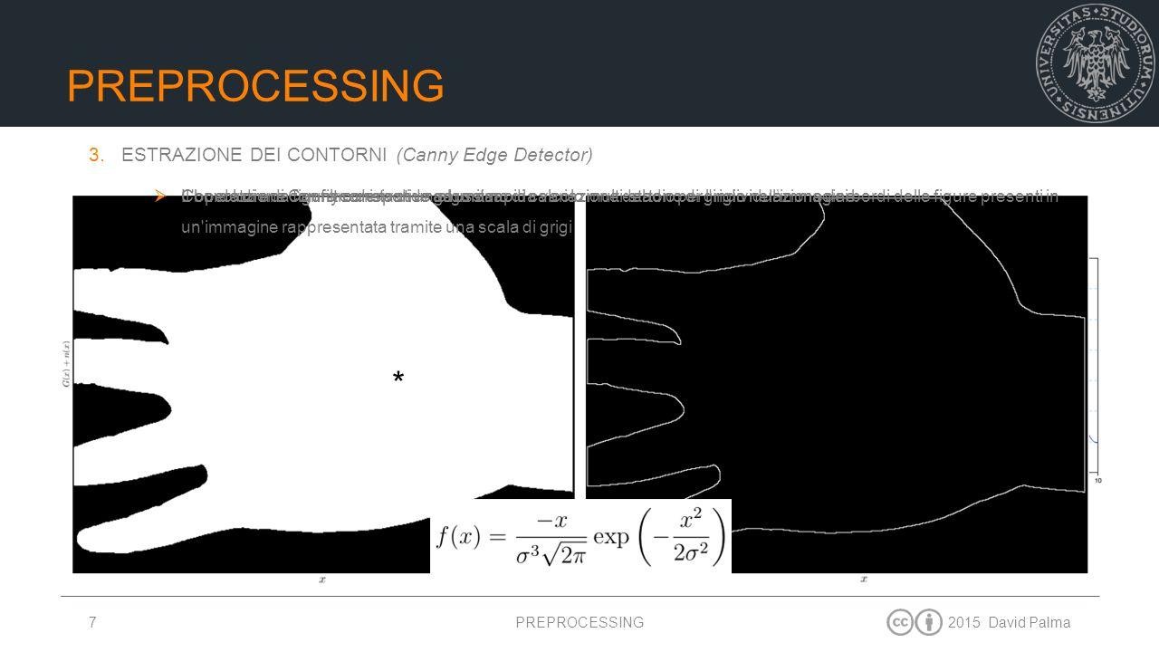 Preprocessing = * ESTRAZIONE DEI CONTORNI (Canny Edge Detector)