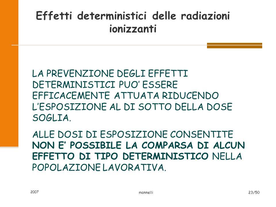 Effetti deterministici delle radiazioni ionizzanti