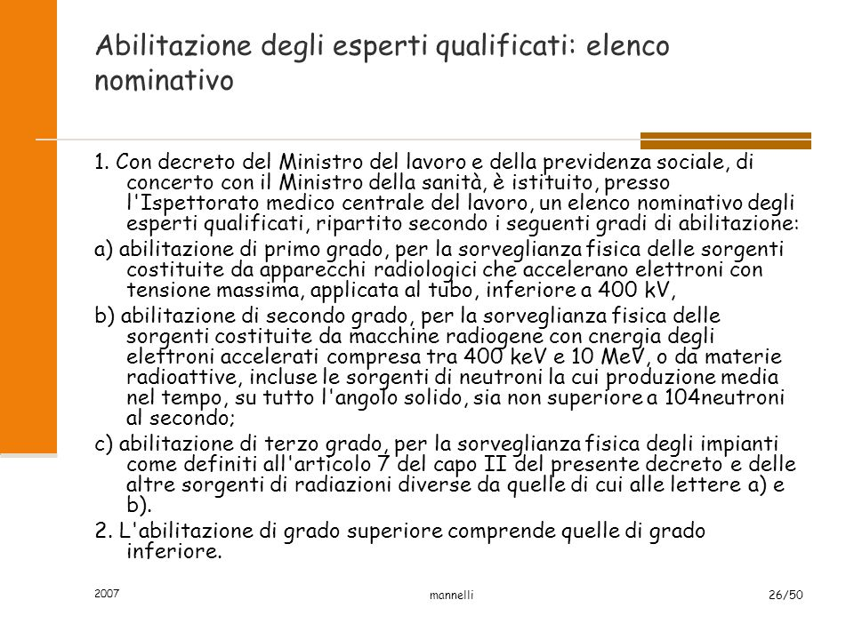 Abilitazione degli esperti qualificati: elenco nominativo