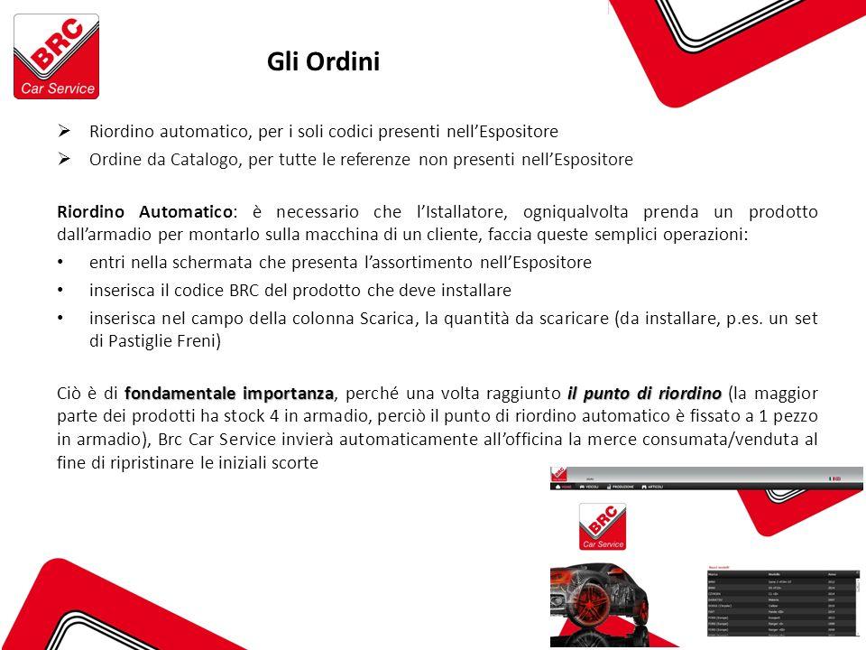 Gli Ordini Riordino automatico, per i soli codici presenti nell'Espositore. Ordine da Catalogo, per tutte le referenze non presenti nell'Espositore.