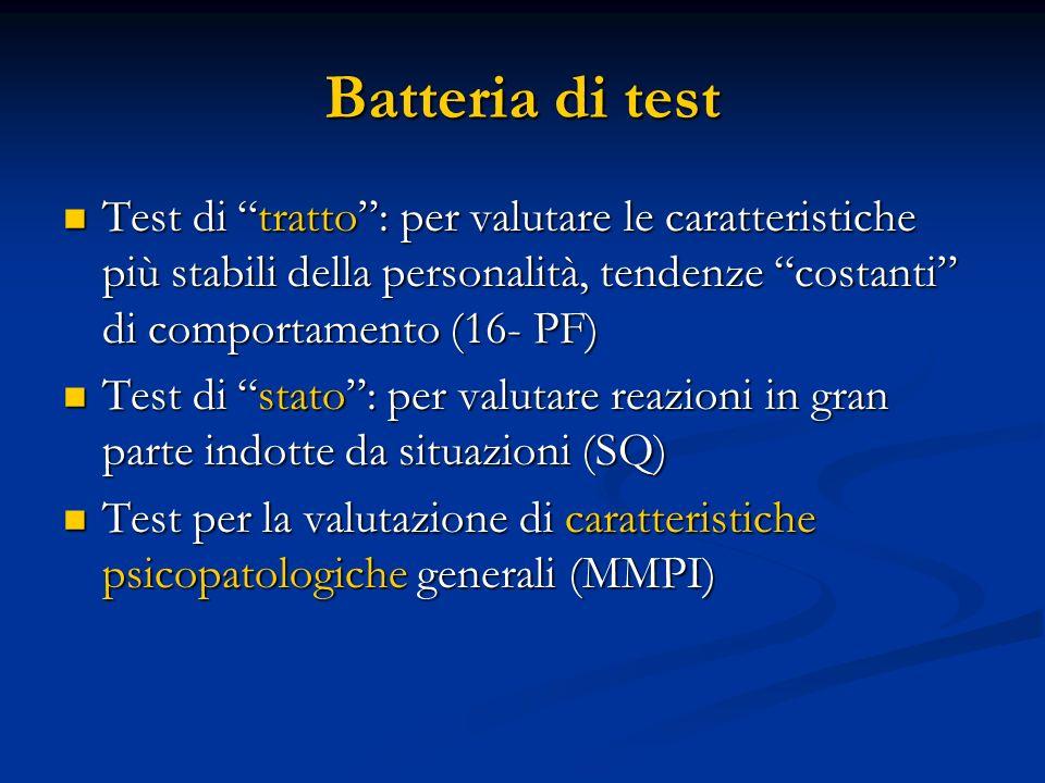 Batteria di test Test di tratto : per valutare le caratteristiche più stabili della personalità, tendenze costanti di comportamento (16- PF)