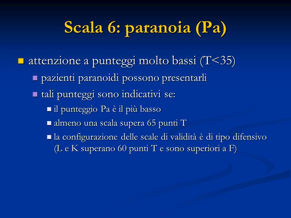 Scala 6: paranoia (Pa) attenzione a punteggi molto bassi (T<35)
