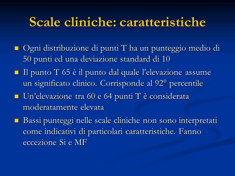 Scale cliniche: caratteristiche