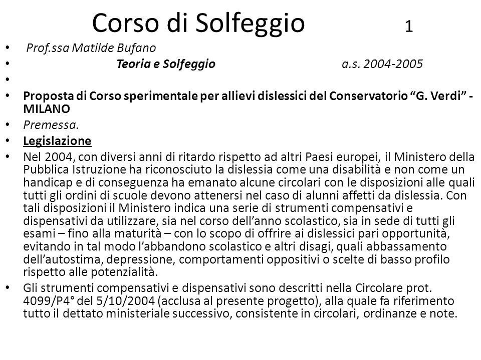 Corso di Solfeggio 1 Prof.ssa Matilde Bufano