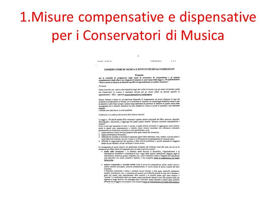 1.Misure compensative e dispensative per i Conservatori di Musica