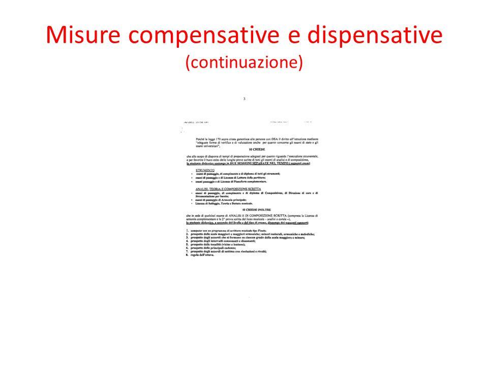 Misure compensative e dispensative (continuazione)