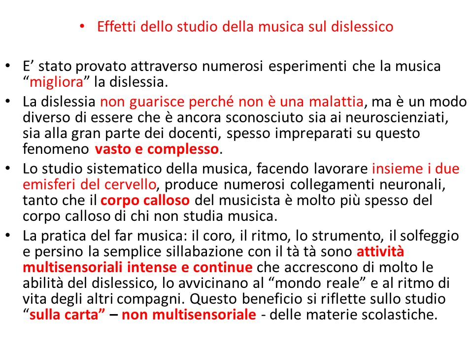 Effetti dello studio della musica sul dislessico