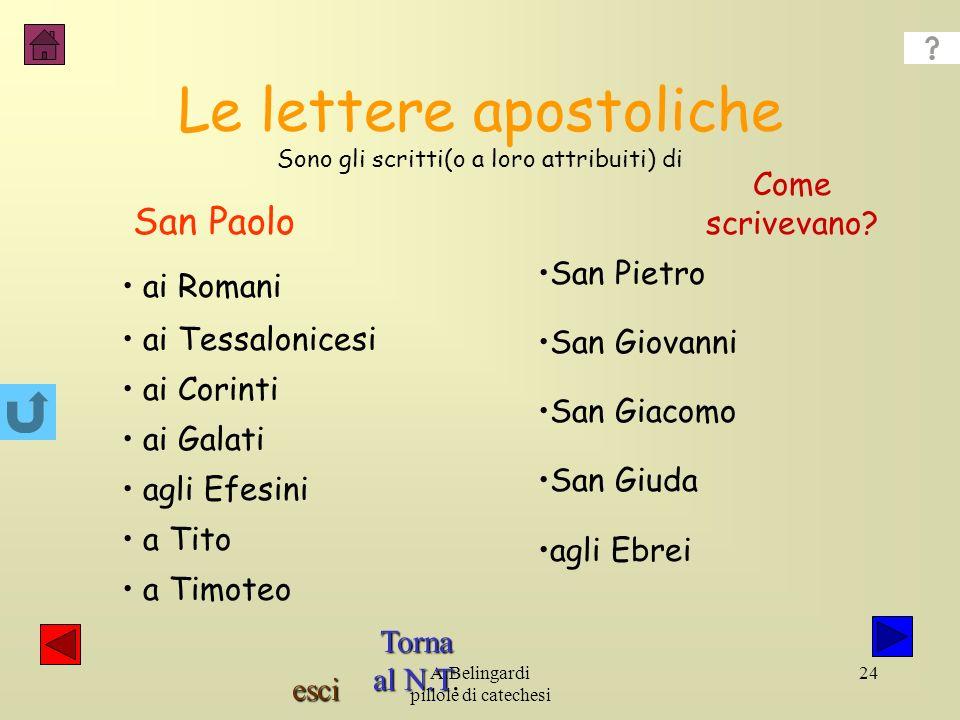 Le lettere apostoliche Sono gli scritti(o a loro attribuiti) di