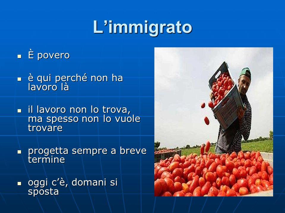 L'immigrato È povero è qui perché non ha lavoro là