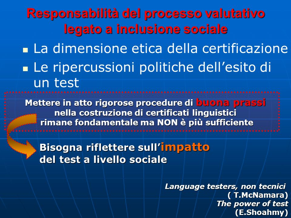 Responsabilità del processo valutativo legato a inclusione sociale