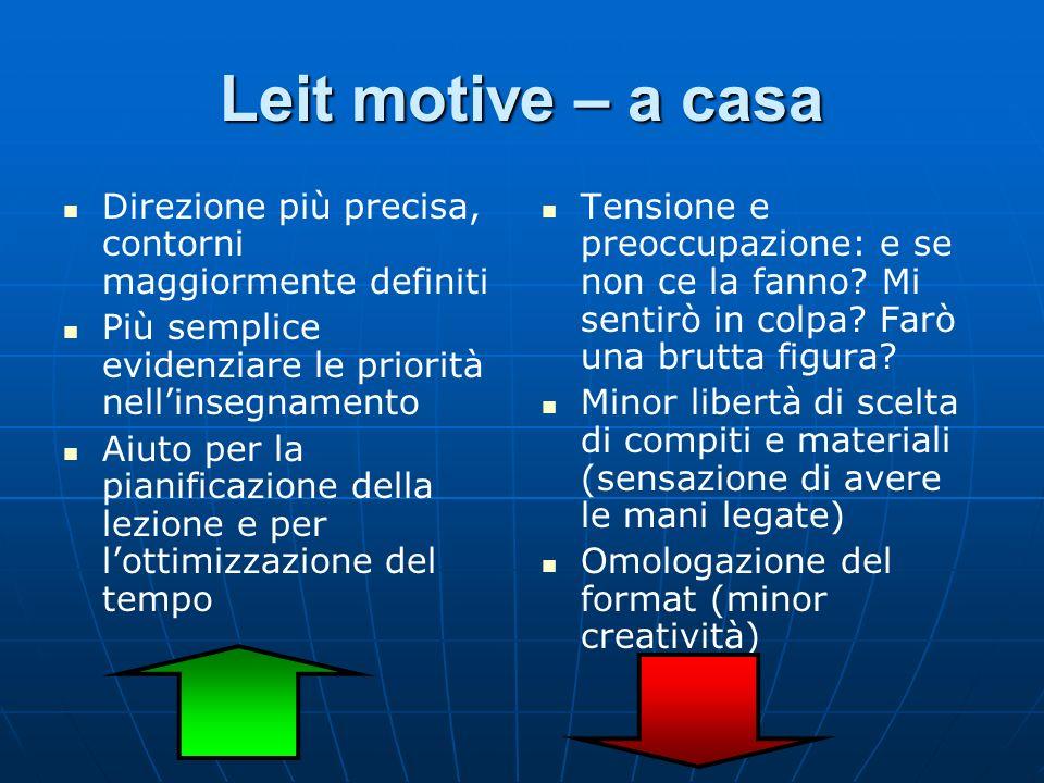 Leit motive – a casa Direzione più precisa, contorni maggiormente definiti. Più semplice evidenziare le priorità nell'insegnamento.