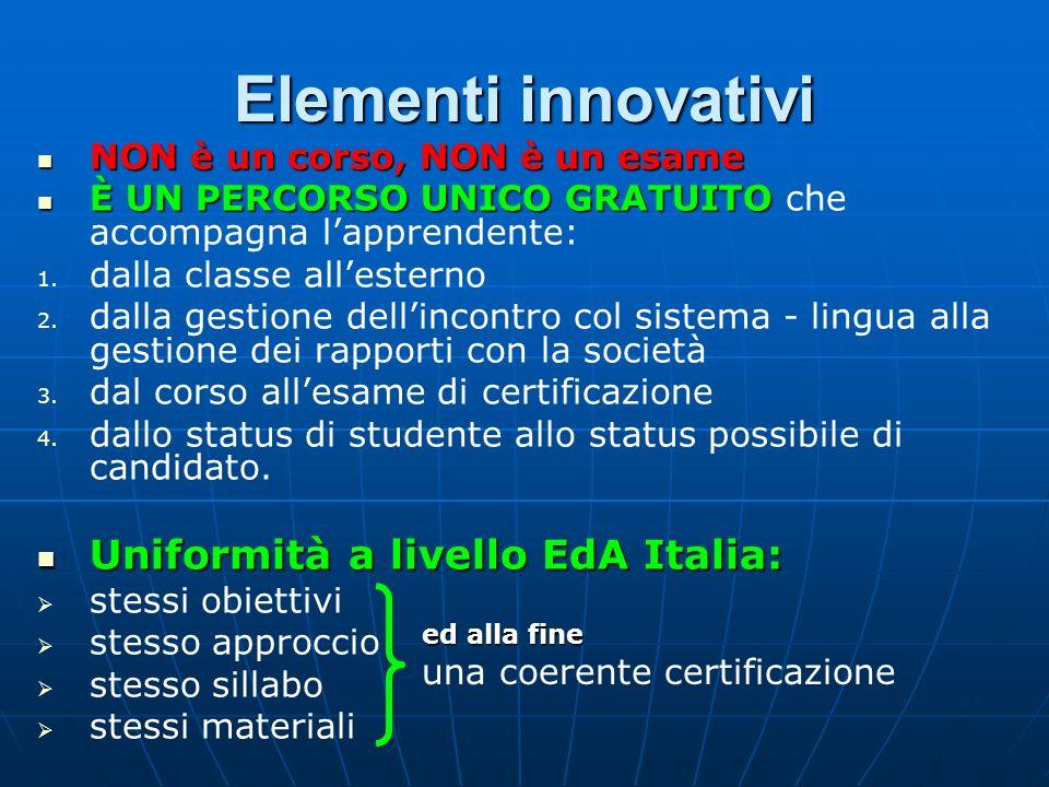 Elementi innovativi Uniformità a livello EdA Italia: