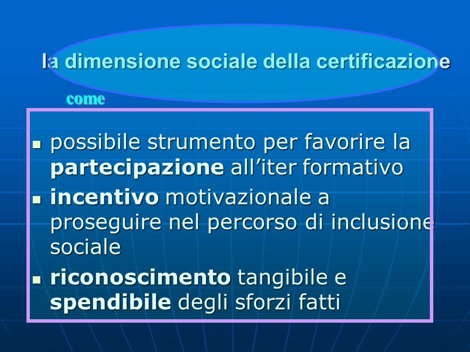 la dimensione sociale della certificazione