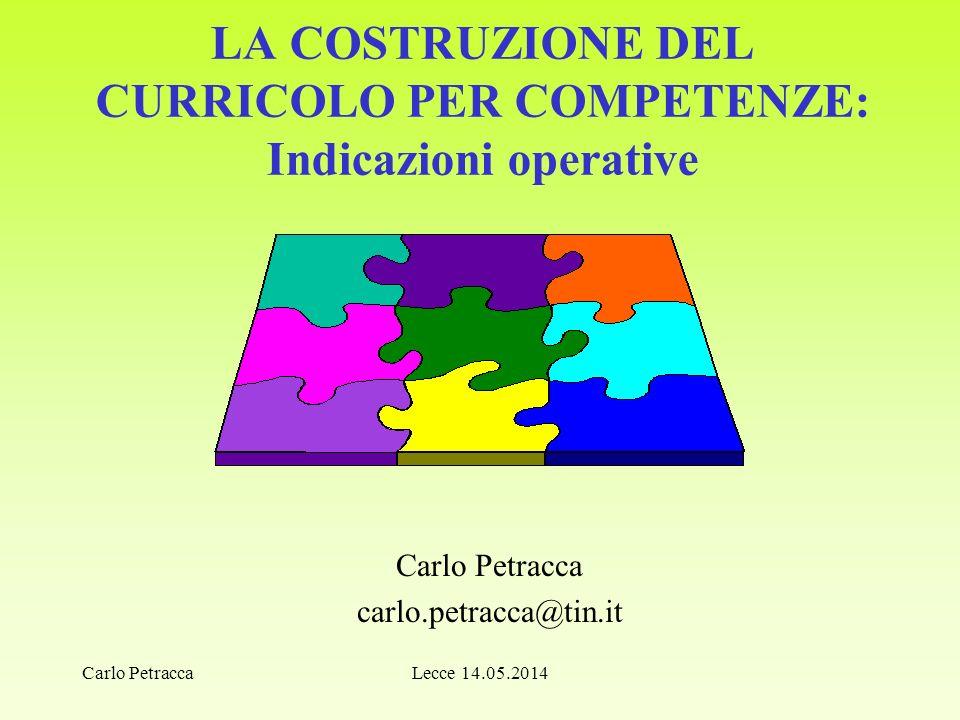 LA COSTRUZIONE DEL CURRICOLO PER COMPETENZE: Indicazioni operative