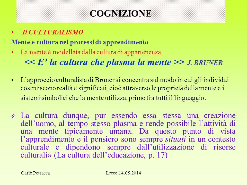 << E' la cultura che plasma la mente >> J. BRUNER