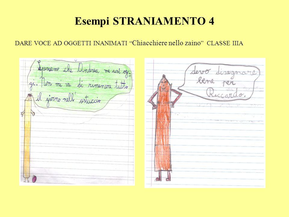 Esempi STRANIAMENTO 4 DARE VOCE AD OGGETTI INANIMATI Chiacchiere nello zaino CLASSE IIIA