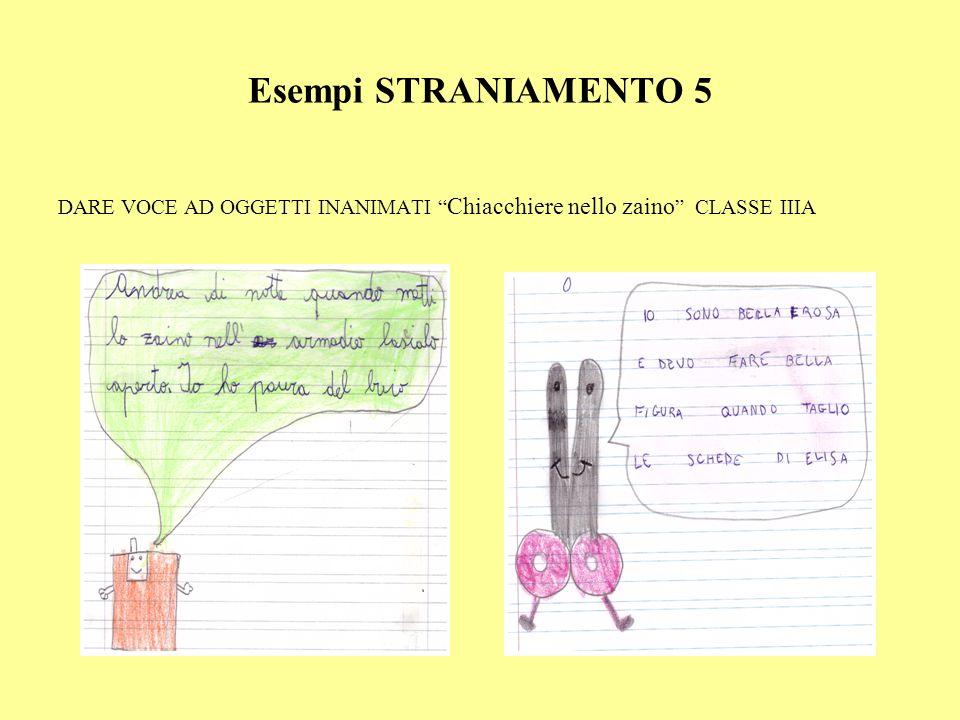 Esempi STRANIAMENTO 5 DARE VOCE AD OGGETTI INANIMATI Chiacchiere nello zaino CLASSE IIIA
