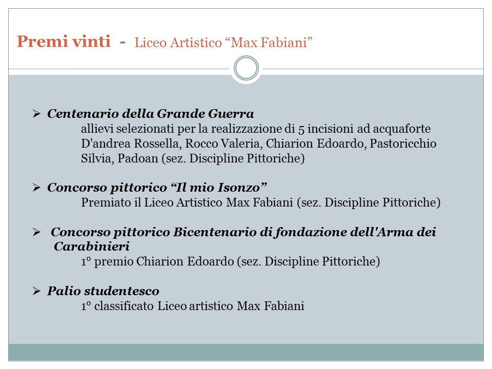 Premi vinti - Liceo Artistico Max Fabiani